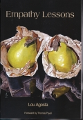 Cover art from EMPATHY LESSONS - two pears leaning in to listen by Alex Zonis