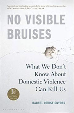 Cover Art: No Visible Bruises by Rachel Louise Snyder: Showing plaster as broken by the impact of a fist: but also referring to a fragmented, fractured self