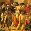 Napoleon visiting the plague victim in a propaganda baiting by Antoine Jean Gros to counter the assertions that Napoleon ordered the victims to be given fatal doses of opium as he retreated from Cairo