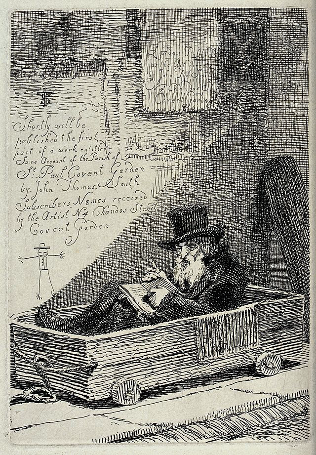 old man in a top hat sitting in a wooden cart with wheels, pointing at a passage in the book he is reading. Etching by J.T. Smith. Iconographic Collections Keywords: John Thomas Smith Creative Commons Attribution 4.0 Wellcome V0020405.jpg